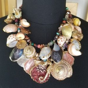 Gold Seashell Seahorse Conch Statement Necklace